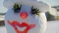 The beautiful lady snowman on the ground video