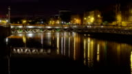 The beautiful nightscape of the city of Dublin video