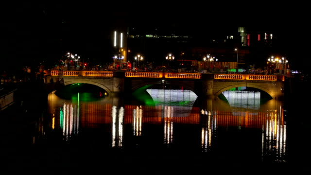 The beautiful nightscape of the O Connell bridge video