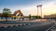The beauty of Wat Suthat and Sao Ching Cha (Giant Swing) during sunset. video