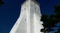 The big body of the white lighthouse in Kopu Estonia GH4 4K video