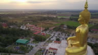 The biggest golden buddha statue at Muang temple, Aungthong Thailand video