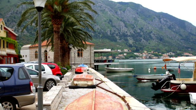 The boat on the shore. Montenegrin fishing boats video