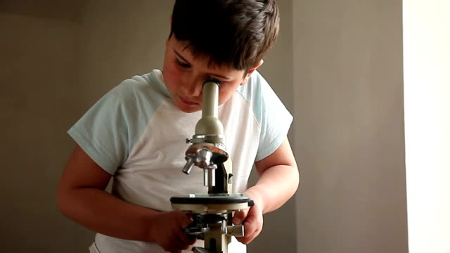 The boy is looking through a microscope video