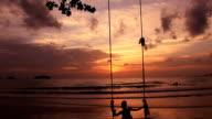 The boy on a swing. video