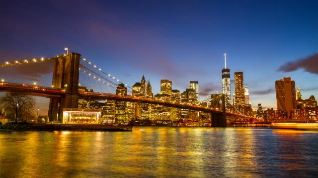 The Brooklyn Bridge at night, viewed from Brooklyn video