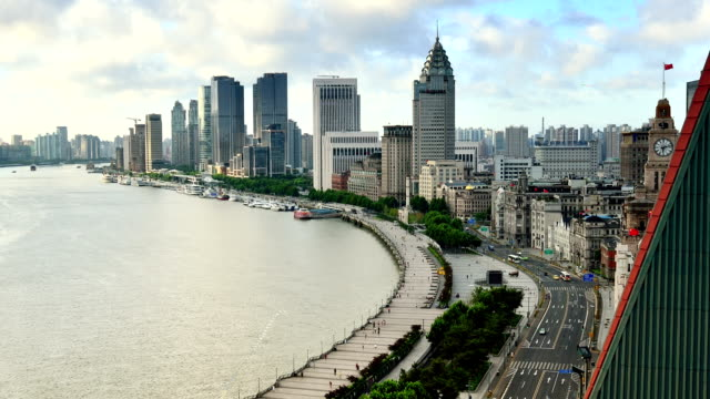 The bund and huangpu river of Shanghai, Time lapse video