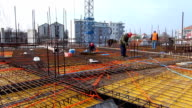 The cage of reinforcement bar on the construction site video