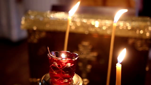 The candle flame in Orthodox church video