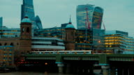 The Cannon Street Railway Bridge and the Financial District in London, England, UK video