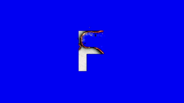 The Capital Letter F Burning To Ashes on a Blue Screen Background video