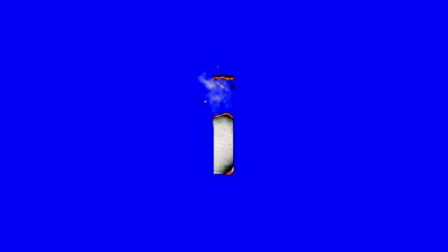 The Capital Letter I Burning To Ashes on a Blue Screen Background video