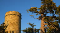 The castle tower at sunset video