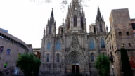 The Cathedral of the Holy Cross and Saint Eulalia in the Gothic quarter of Barcelona video