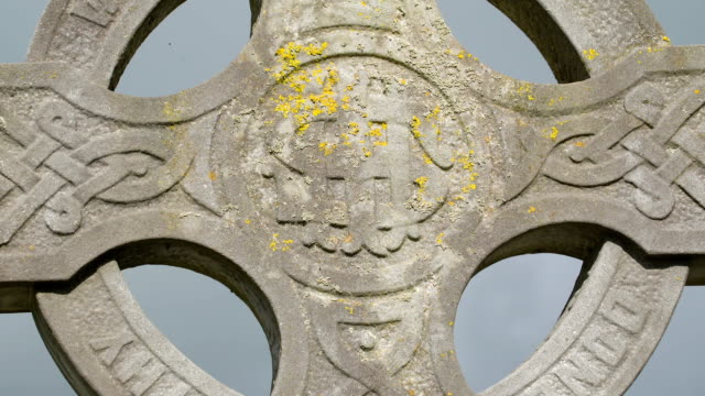 The celtic figure from the high crosses in Ireland video