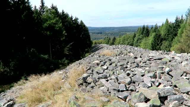 The Celtic hill fort of Otzenhausen. The remains of the walls. Located near of Nonnweiler in Saarland (Germany) video