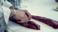 The chef prepares succulent and fragrant roast beef video