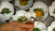 The chef prepares the seafood appetizer in restaurant kitchen video
