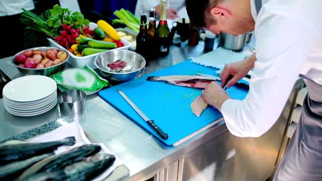 The chef unbones the fillet of fish video