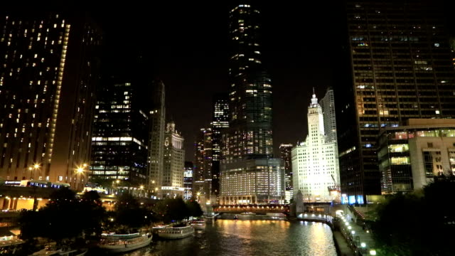The Chicago Riverwalk at night video
