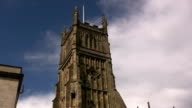 The church tower and clock in Cirencester, England, video