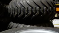 The closer look of the tires of the harvester video