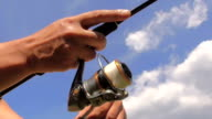 The coil for fishing on a spinning video
