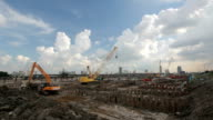The construction site. Construction of the new building. Construction cranes. video