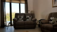 The design of living room with armchair and sofa in front of panoramic windows video