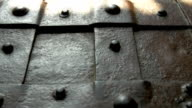 The details of the metal treasure chest from the castle video