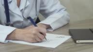 The doctor writes a prescription video