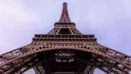 The Eiffel Tower in Paris France with the clouds on the background. video