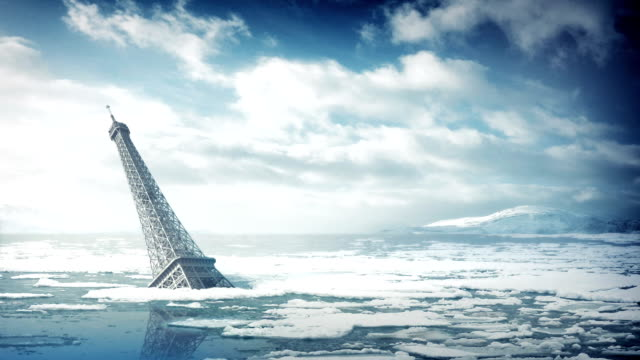 The Eiffel Tower In Rising Sea Levels video