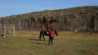 The equitation trainer is leading the horse in a circle with the beginner in the saddle video