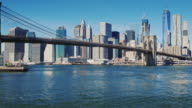 The famous Brooklyn Bridge in New York, USA. Clear autumn day, morning video