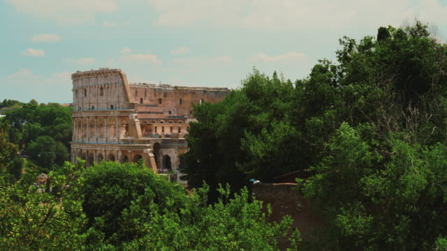 The famous Colosseum in Rome. In the foreground there are green trees. Summer in Rome video