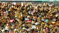 The famous tourists attraction of Paris love locks bridge video