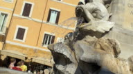 The fantastic fountain with its statues in front of the Pantheon in Rome video