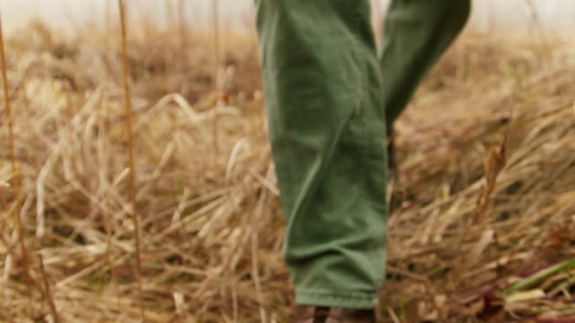 The farmer is walking along the field, not far from the farm video