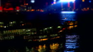 The Ferry Docks to Berth in Hong Kong at Night video