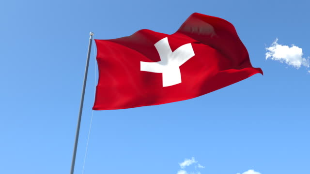 The flag of Switzerland Waving on the Wind video