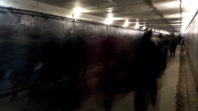 the flow of people in the underpass, time lapse video