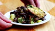 The food in the restaurant, potatoes, steak, mushrooms video