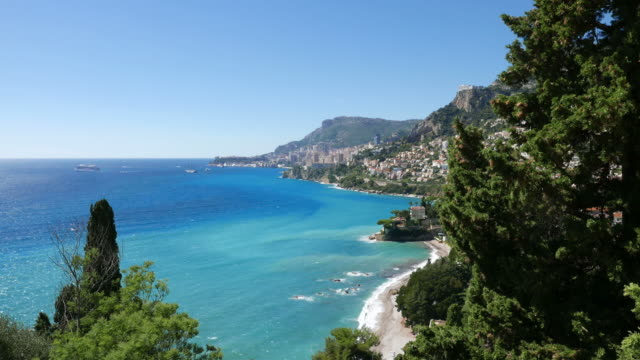 The French coast. Beach. Monaco in the background video