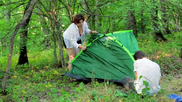 The girl and the man set the tent in the deciduous forest. video