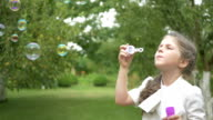 The girl blows a bubbles in the garden video