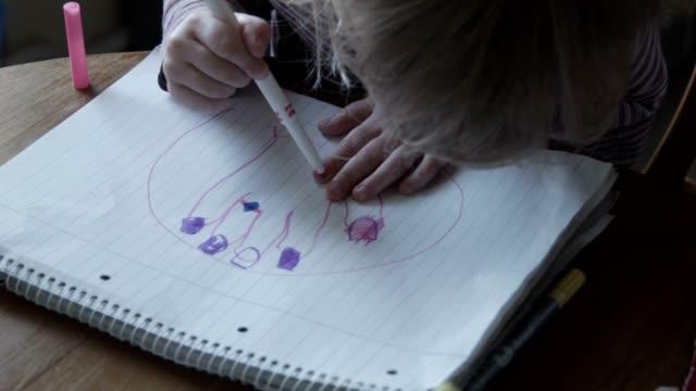 The girl paints nails a felt-tip pen video