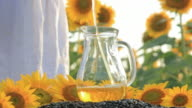HD The girl pours sunflower oil in a glass jug video