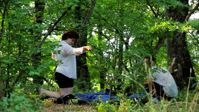 The girl set the tent in the deciduous forest. video