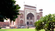 the Great Gate (Darwaza-i rauza), the main entrance to the Taj Mahal, Agra, Uttar Pradesh, India video